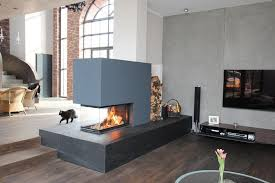 modern fireplaces table tunnel fireplace three sided