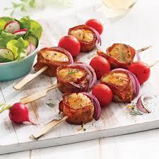 barde cuisine brochettes de pétoncles bardés de bacon recettes cuisine et