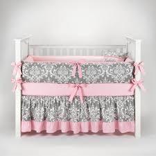 Pink Crib Bedding by Amazon Com Damask Gray U0026 Pink Baby Bedding 5pc Crib Set By