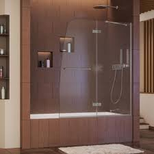 dreamline aqua ultra 48 in x 58 in semi framed pivot tub shower