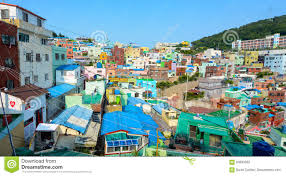100 South Korea Houses Brightly Painted On A Hill In Gamcheon Culture Village In