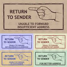 Mail Delivery Stamp With Pointing Hand Gesture Sign Return To