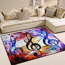 naanle rutschfester teppich mit musiknoten im galaxie raum für wohnzimmer esszimmer schlafzimmer küche 150 x 200 cm musik kinderzimmer teppich