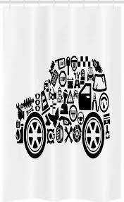 abakuhaus duschvorhang badezimmer deko set aus stoff mit haken breite 120 cm höhe 180 cm automechaniker auto form pictogramme kaufen otto