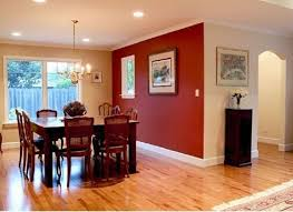 Small Dining Room With Merlot Red Accent Wall Painting Color Ideas