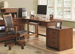 maclay 4 piece l shaped desk home office set in red brown finish