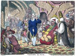 A Highly Collectible Hand Coloured Political Cartoon Visiting The Sick By