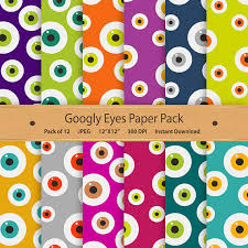 Googly Eyes Digital Paper Halloween Pack Printable