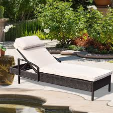 Outdoor Chaise Lounge Cushioned Reclining Patio Chair Pool Deck Lounger Wicker