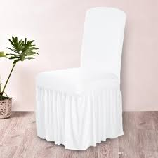 Spandex Stretch Chair Covers Elastic Cloth Ruffled Washable White Seat Cover For Dining Room Weddings Banquet Party Hotel Rentals Cheap