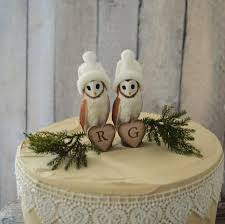 Barn Owl Wedding Cake Topper Bride Groom Personalized Animal Fall Winter Country Rustic Decorations Lover Initial Sign