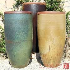 Full Image For Tall Planters Rustic Jar Large Tapered Planter Bronze