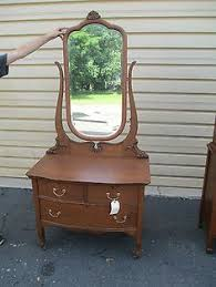 oak quartersawn princess dresser large beveled mirror claw feet