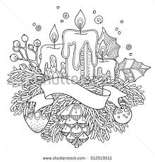 Magic Christmas New Year Composition In Doodle Style Floral Ornate Tribal