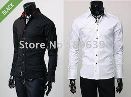 Hot Sale High Fashion Men Shirtslong Sleeve ShirtsCasual Slim Fit Stylish Dress Shirtsmen Clothesblack White MLXL