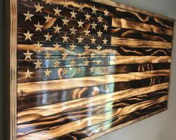 Peaceful Ideas Wooden American Flag Wall Hanging Burned Outdoor Rustic Wood