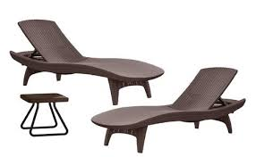 Keter Rattan Lounge Chairs by Keter Pacific Chaise Sun Lounger And Side Table Set Brown