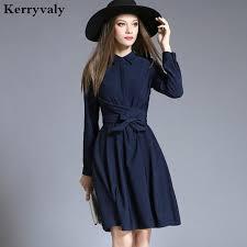 vetement de bureau ol marine bleu chemise à manches longues robe vetement femme 2018