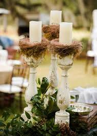 Rustic Wooden Candlesticks Centerpiece Photo Fields Photography Featured The Knot Blog