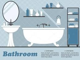 blaues badezimmerinterieur im flachen infografik stil 60258227