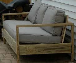 Single Cushion Seat And Triple Extra Backs For Wooden Outdoor Couch