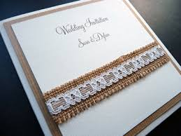 Matt Ivory Pocketcard Invitation With Hessian And Lace On The Cover