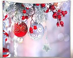 Get Orange Christmas Wall Tapestry Red Balls Ornaments Snow And Tree Fabric