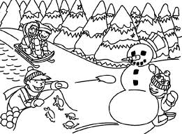 Winter Scene Coloring Pages Printable Sheet With Of Chirstmas Disney