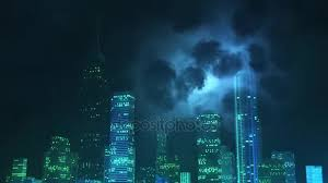 Computer Generated Lighting Storm Over City At Night Stock Footage