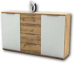 schlafzimmer kommode in wildeiche optik weiß modernes ausdrucksstarkes softclose sideboard für ihr schlafzimmer 150 x 90 x 38 cm b h t