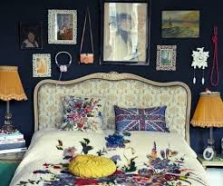 Quirky Bedroom With Dark Navy Walls