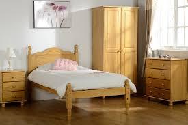 Bedroom Sweet Bedroom Design With Brown Pine Wooden Bed Frame