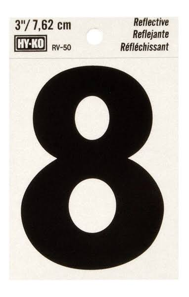 Hy-ko Products Reflective House Number - 8, 3""