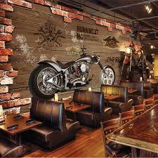 nach 3d foto tapete vintage motorrad nostalgischen ziegel wand hintergrund dekoration für wohnzimmer bar ktv wandmalereien