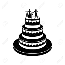 Wedding cake simple icon isolated on a white background Stock Vector
