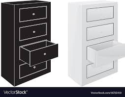 fice cabinet drawers black silhouette and 3d Vector Image