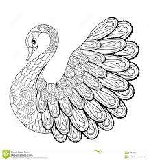 Hand Drawing Artistic Swan For Adult Coloring Pages In Doodle
