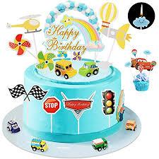 ulikey tortendeko auto geburtstag cake toppers 1 geburtstag spielzeugautos transport kuchendeckel kuchendekoration mit kerze mini auto