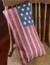 Primitive American Flag Pillow with Fringe TheHolidayBarn