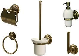 aprovio 5er badezimmer set seifenspender wc bürstengarnitur toilettenpapierhalter ersatzrollenhalter handtuchring in messing antik optik