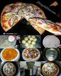 Kadai Pizza Without Yeast Oven Recipe Step By