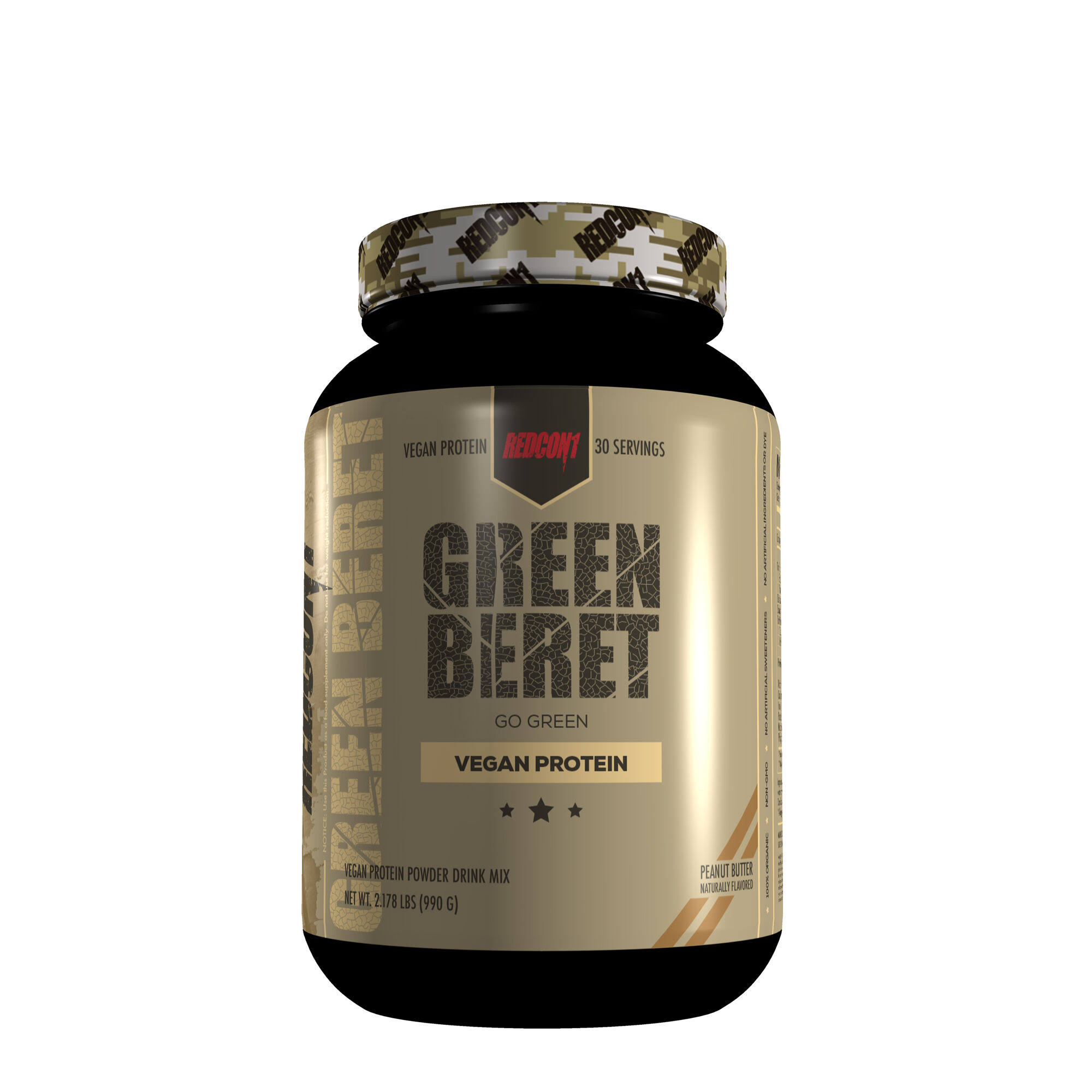 Green Beret Drink Mix, Vegan Protein, Peanut Butter, Powder - 34.84 oz