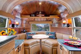 Brown Leather Seat At Airstream Flying Cloud Travel Trailer