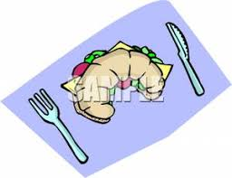 A Croissant Sandwich With Fork And Knife Clipart Image