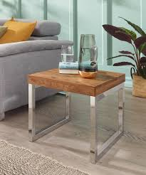 finebuy beistelltisch massiv holz sheesham wohnzimmer tisch metallgestell couchtisch landhaus stil dunkelbraun 45 cm natur produkt wohnzimmermöbel