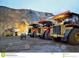 100 Rock Trucks Dump Are Waiting For Loading Stock Image Image Of Load