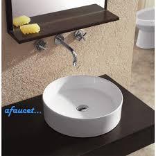 18 Inch Pedestal Sink by Round European Design White Black Porcelain Ceramic Countertop
