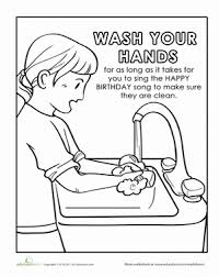 Kindergarten Coloring Worksheets Hand Washing Page