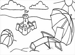 Summer Beach Adult Coloring Page PDF Free Download