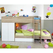 bureau avec ag es lit superpose en bois avec rangements couchages 90x200cm jimmy